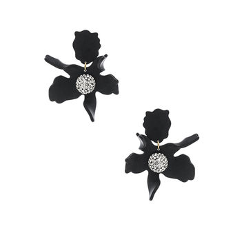 Lele Sadoughi Crystal Lily Earrings in Jet | FWRD