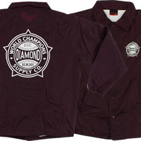 Diamond World Renowned Coaches Jacket Large Burgundy