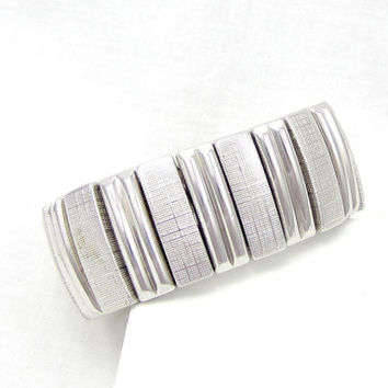 Bergere Signed Silver Tone Stretch Bracelet Thick Chunky Designer Signed Vintage Costume Jewelry Runway Piece 1980s Bangle Accessory