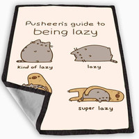 Pusheen cat guide to being lazy Blanket for Kids Blanket, Fleece Blanket Cute and Awesome Blanket for your bedding, Blanket fleece *