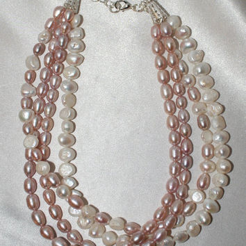 Pink and White Freshwater Pearl Wedding Statement Necklace, Large Rice Pearl Bridal Jewelry, Mother Of The Bride, Bridal Wedding Statement