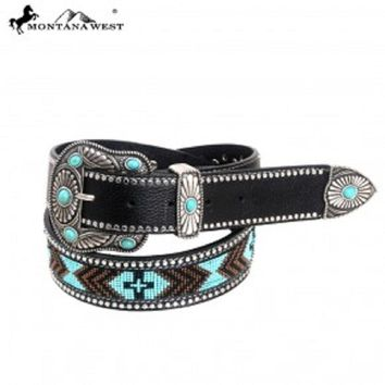 Montana West Western Aztec Hand Beaded Belt Black Medium