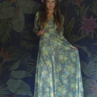 Vintage lame floral evening dress / 1960s maxi gown / lovely muted watery green yellow floral shimmering frock