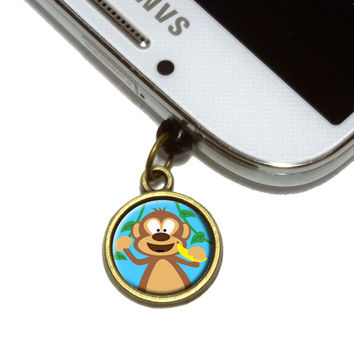 Monkey Mobile Phone Brass Charm
