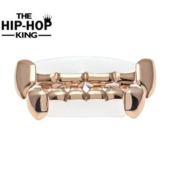 ac DCCKO2Q Rose Gold Color Fang Top & Bottom Grill Set Vampire Fangs Half Grillz Gold Color Slim Bottom Lower Fang New Teeth Grill