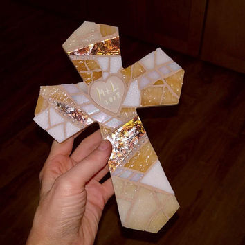 Beige White Wedding Cross, Personalized Wall Cross, Gold Anniversary Wall Cross, Stained Glass Mosaic Cross, Coastal Wedding Cross Gift
