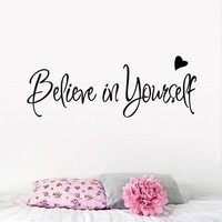 DCCKU7Q Believe In Yourself Wall Sticker Decor Living Room Decals wall stickers home decor living room quotes