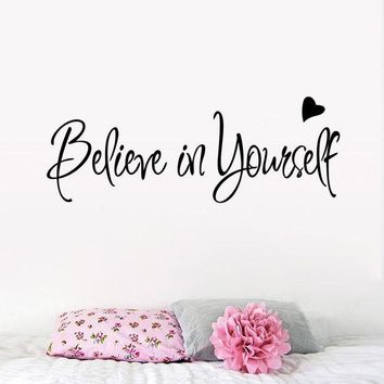 VONFC9 Believe In Yourself Wall Sticker Decor Living Room Decals wall stickers home decor living room quotes