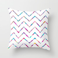 White Zigzag Throw Pillow by Ornaart