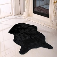yazi Artificial Wool Carpet Sheepskin Chair Bedroom Faux Floor Mat Seat Pad Plain Skin Fur Plain Fluffy Area Rugs Black