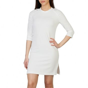 Imperial White Round Neck 3 4 Sleeve Mini Dress