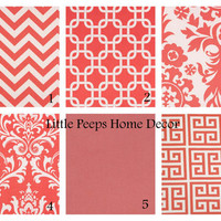"CORAL Pillows 18"" Decorator Pillow Covers Set of Two 18 inch Designer Fabric FRONT and BACK Mix & Match Salmon Pink"