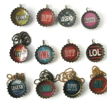 Jewellery Recycled Bottle cap Pendants Slogan styles Necklace