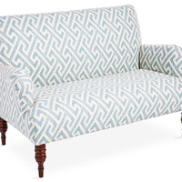 Nicolette Settee, Teal Greek Key, Settees