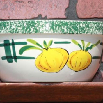 YSC Bowl White with Green trim Bulbs Decorative Dish
