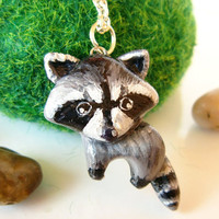 Raccoon necklace Animal totem polymer clay by FlowerLandShop