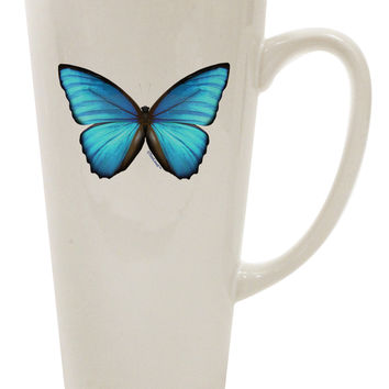 Morpho Butterfly Big Blue Butterfly 16 Ounce Conical Latte Coffee Mug