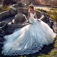 2016 Customized Handmade New Luxury Bridal Mermaid Dress Trumpet Wedding Dresses Embroidered Lace Long Train Vestidos De Novia