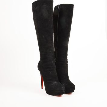 QIYIF Christian Louboutin Black Suede High Heel  Bianca Botta 140  Tall Boots