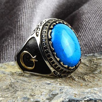 Mens 925 sterling silver ring with turquoise gemstone and crescent star