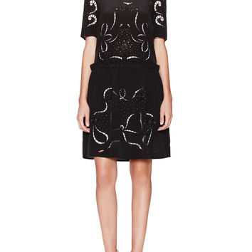 Love Moschino Women's Embroidered Short Sleeve Dress - Black -