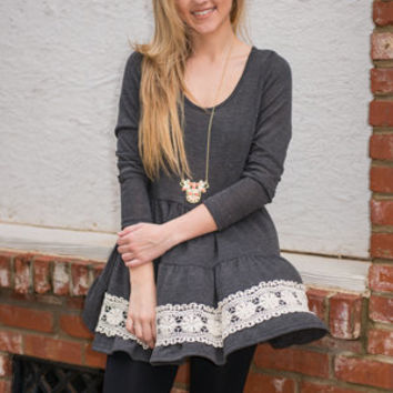 Around The Boarder Tunic, Charcoal