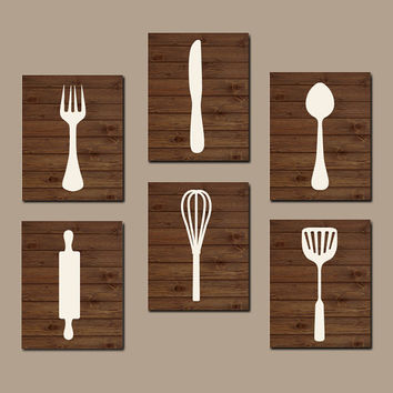 Kitchen Wall Art Kitchen Cooking Utensils Wall Art CANVAS or Prints Cook Wall Art Kitchen Decor Home Decor Wood Effect Set of 6