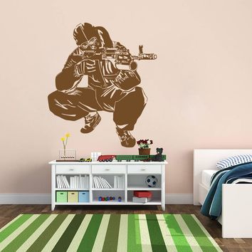 ik719 Wall Decal Sticker Army soldier military shooter sniper vest