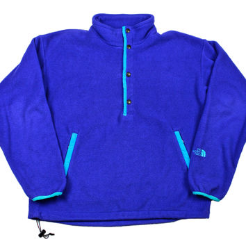 Vintage 90s The North Face Fleece Jacket in Purple/Teal Mens Size Medium