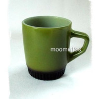 Fire King Coffee Mug D Handle Stackable Green Black Vintage