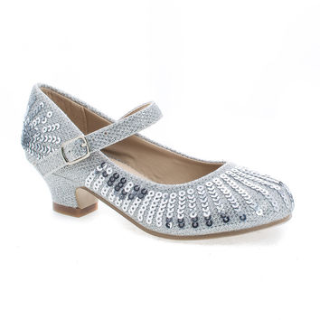 Quincy09 SilverMetallic Children's Girl Sparkling Mesh And Sequin Heeled Sandals