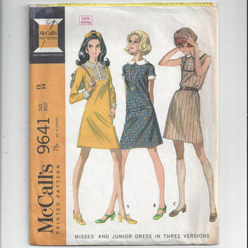 McCall's 9641 Pattern for Misses' Dress in 3 Versions, Sleeveless, Short or Long Sleeves, from 1969, Size 12, Vintage Pattern, Home Pattern
