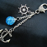 Nautical Anchor Love Bright Blue Fried Marble Rudder Keychain
