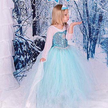 2018 NEW Spring and Summer Hot sale Elsa Anna Cute Girls Party Dress Snow Romance Princess with the Sequins Snow Queen Dress