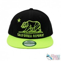 California Republic Snap Back Hat - Neon Yellow