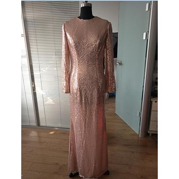 Honey Qiao Bridesmaid Dresses Rose Gold Sequins Mermaid Long Sleeves High Back 2017 Champagne Burgundy Maid of Honor Gowns