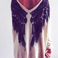 White Angel Wings Loose Jumper