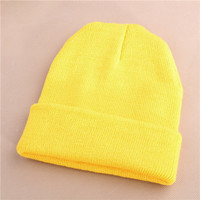 Unisex Warm Winter Knitted Beanie Yellow Cuffed Skully Hat
