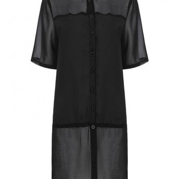 Black Asymmetric Chiffon Shirts With Short Sleeve