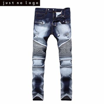 Mens Dark Bleached Blue Skinny Ripped Biker Jeans Straight Slim Fit Distressed Frayed Jeans for Men Denim Pants