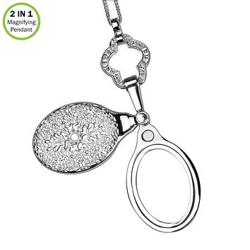 2 in1 Magnifying Pendant-4X Sliding Magnifier-Vintage Necklace-Silver-With Chain