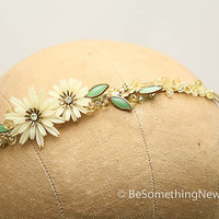 Vintage flowers, beaded headband in pail yellow and green, women hair accessories