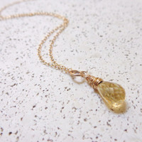 Wire Wrapped Citrine Necklace 14K Gold Filled Dainty Necklace Layering Necklace Boho Style November Gift