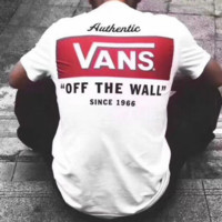 VANS Tide brand Short Sleeve Summer Neck Summer Couples Casual Men and Women T-shirt white