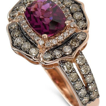 Le Vian Chocolatier® Rhodolite Garnet (1-5/6 ct. t.w.) and Diamond (9/10 ct. t.w.) Ring in 14k Rose Gold