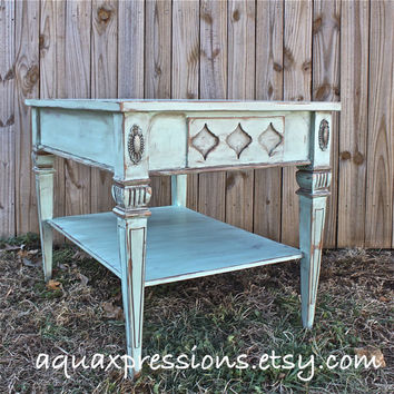 Aqua Vintage side table /Night Stand /End Table /Accent TV Cabinet /Living Room Storage /Bedroom Side Table