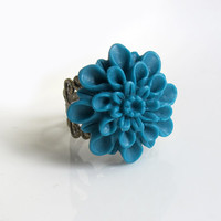 Spring Greenish Blue Vintage Retro Inspired Large Dahlia Flower Cocktail Ring. Victorian Filigree Ring. Nature Shabby Chic Floral Ring