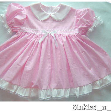 Adult Baby Sissy Littles ~ Blushy Baby ~ PINK Dress Set ~ Binkies n Bows