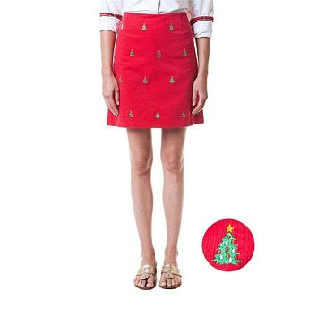 Ali Corduroy Skirt with Embroidered Christmas Trees by Castaway Clothing