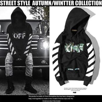 Hoodies Embroidery White Alphabet Green Print Stripes Hats Pullover Jacket [11532797895]